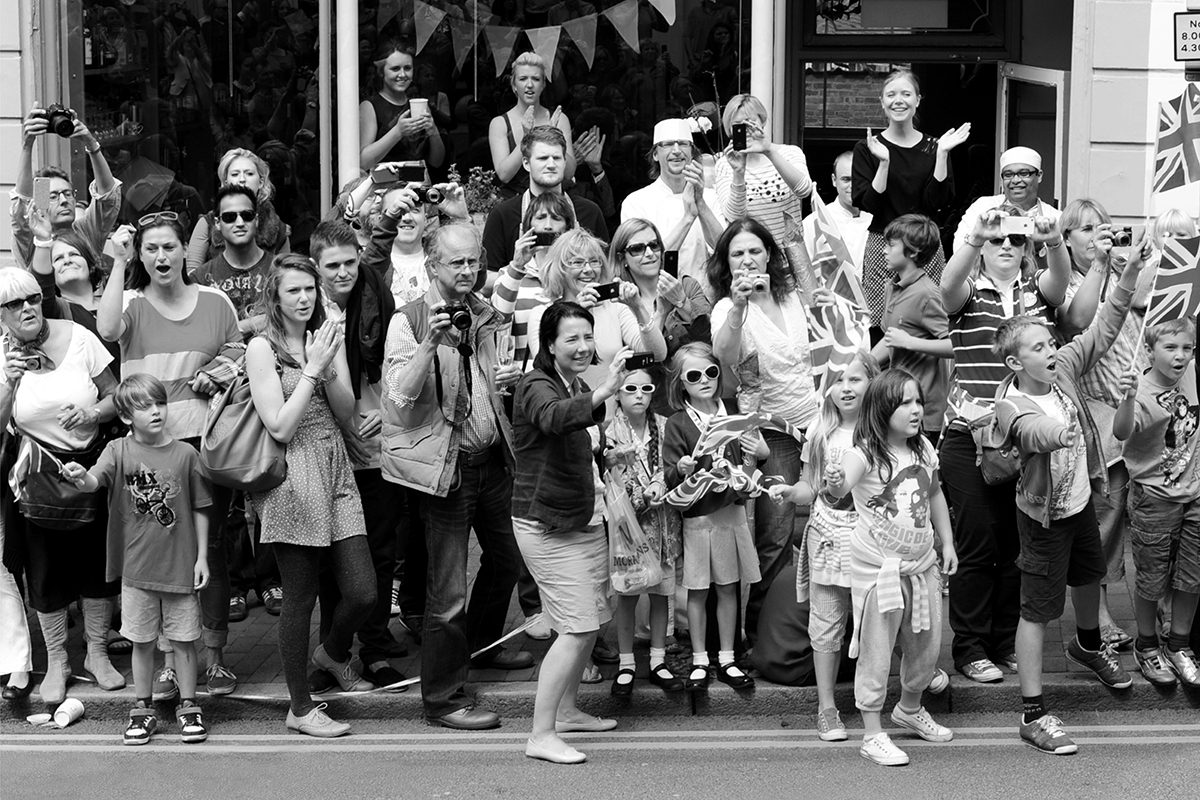 The Olympic Torch procession, Tunbridge Wells, Kent, England, 2012. Photograph by David Rowley
