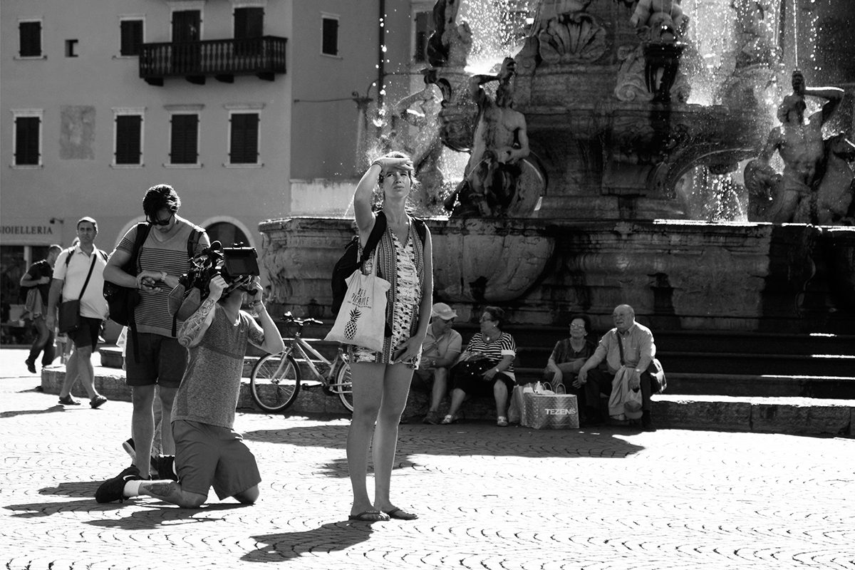 Filming in Piazza Duomo, Trento, Italy, 2016. Photograph by David Rowley