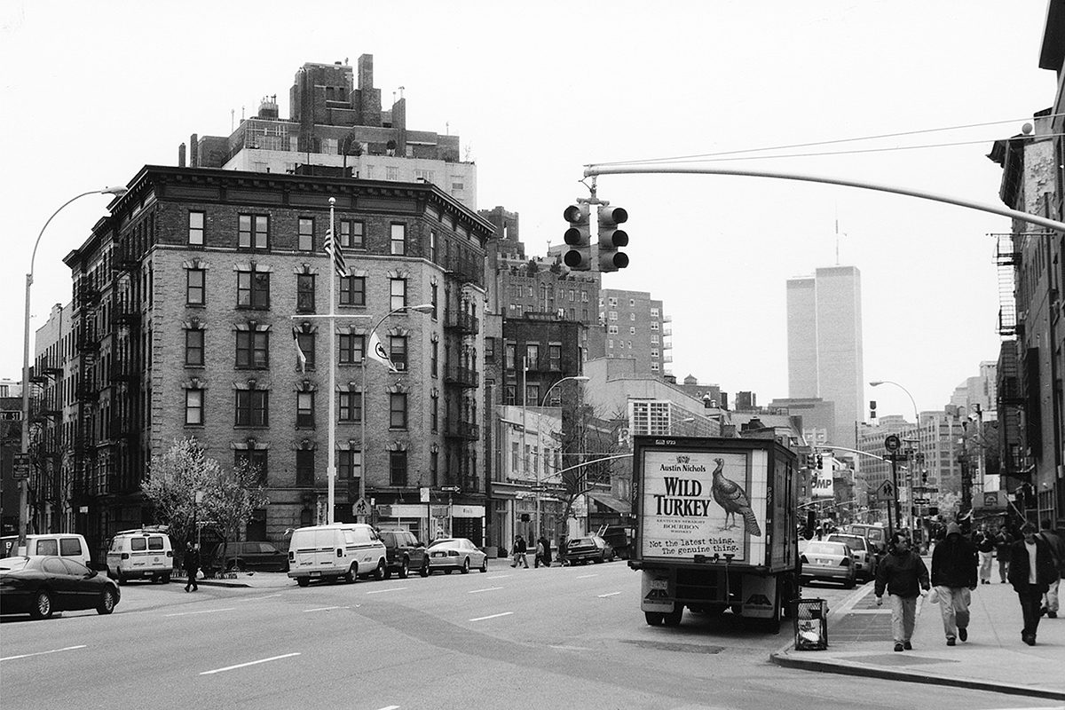 The Twin Towers from Greenwich Village, Manhattan, April 2001.