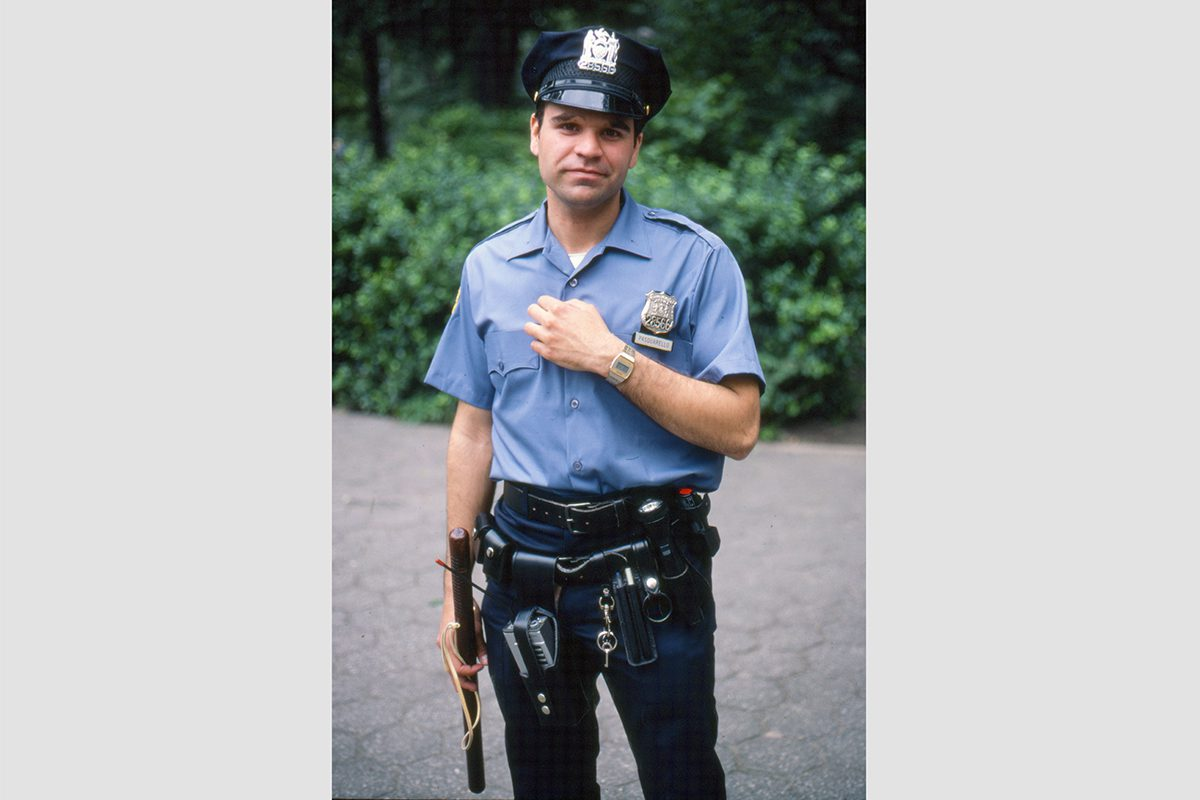 A cop in Central Park, Manhattan, 1982. Photograph by David Rowley